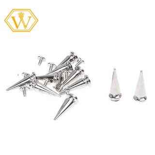 ☀Ready Stock☀10 Sets Cone Screwback Spikes Studs 25mm Silver / Iron with Nickel Plating,DIY