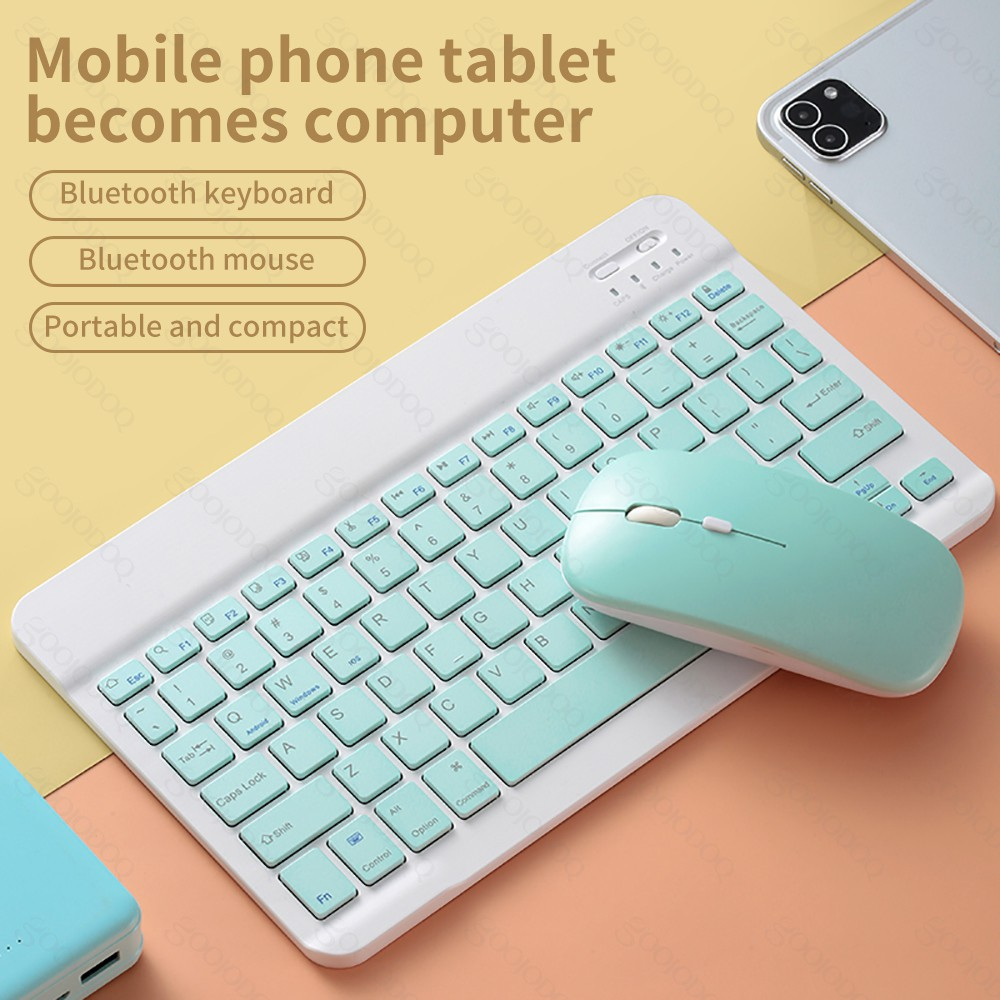 10 Inch Wireless Bluetooth Keyboard Mouse Set Lightweight Portable For Ipad Phone Colorful Shopee Philippines