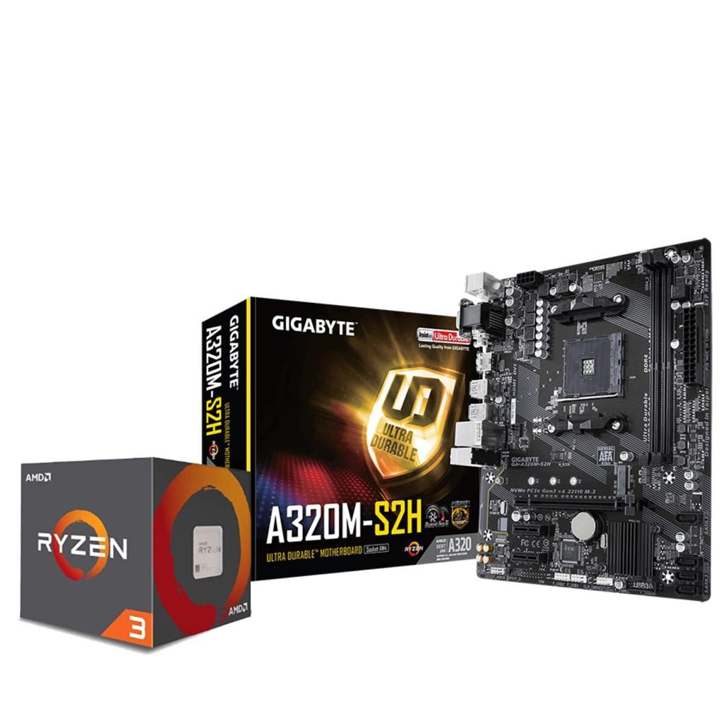 AMD Ryzen 3 2200G Processor with Gigabyte GA-A320M-S2H
