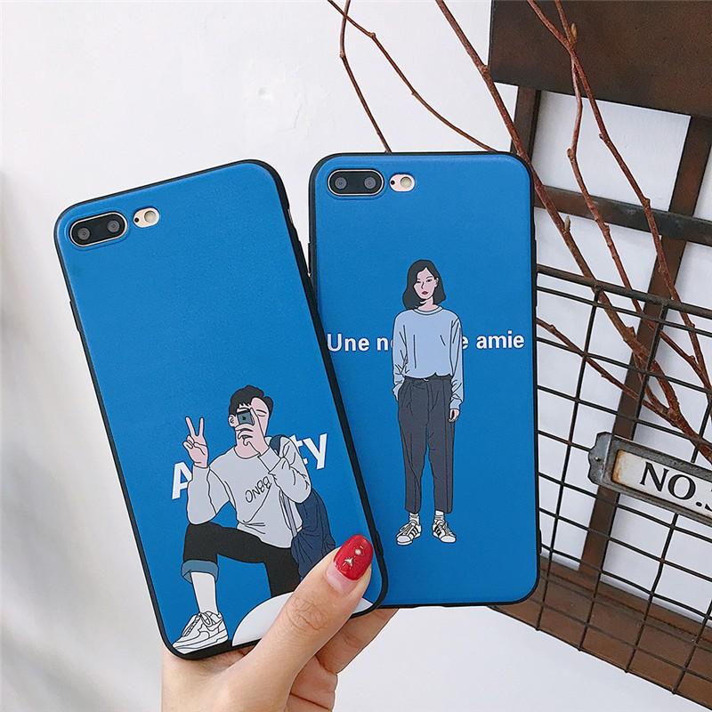 online store 936e2 2f79f Korean Couple Case Soft iphone 6 6p 7/8p X Retro Cover
