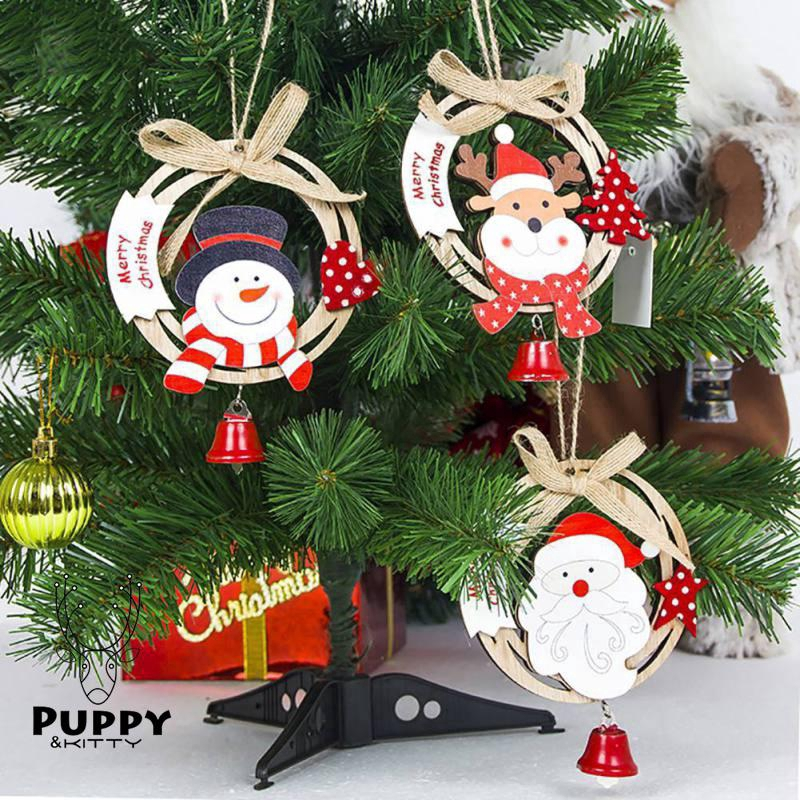 Colorful Painted Wood Christmas Decorations Pendant