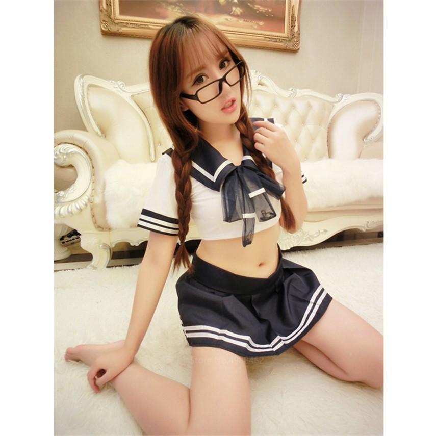 Japanese Style Sailor Shirt Skirt Costume Women Girls Ladies Sexy ...