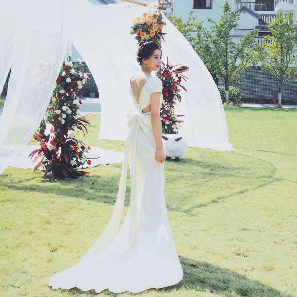 Light Wedding Dress 2020 New Simple V Collar Slimming Towing Sen Department Of Long Style Wedding Banquet Dress Travel Shooting Spring Qs66 Shopee Philippines,Informal Casual Fall Wedding Guest Dresses