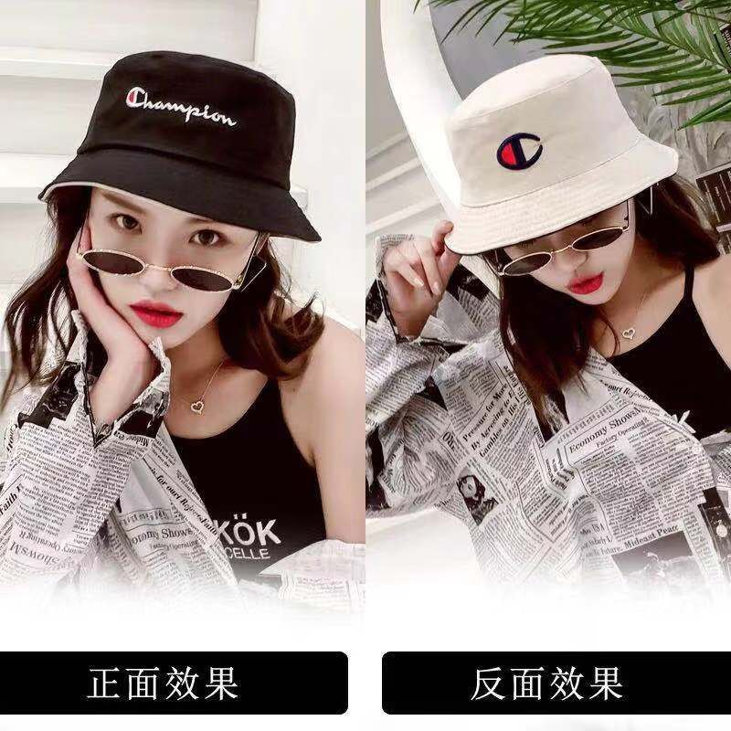 52f20122a 【MOMO】Embroidered Logo Champion Korean Fashion Double-Sided Bucket Hat