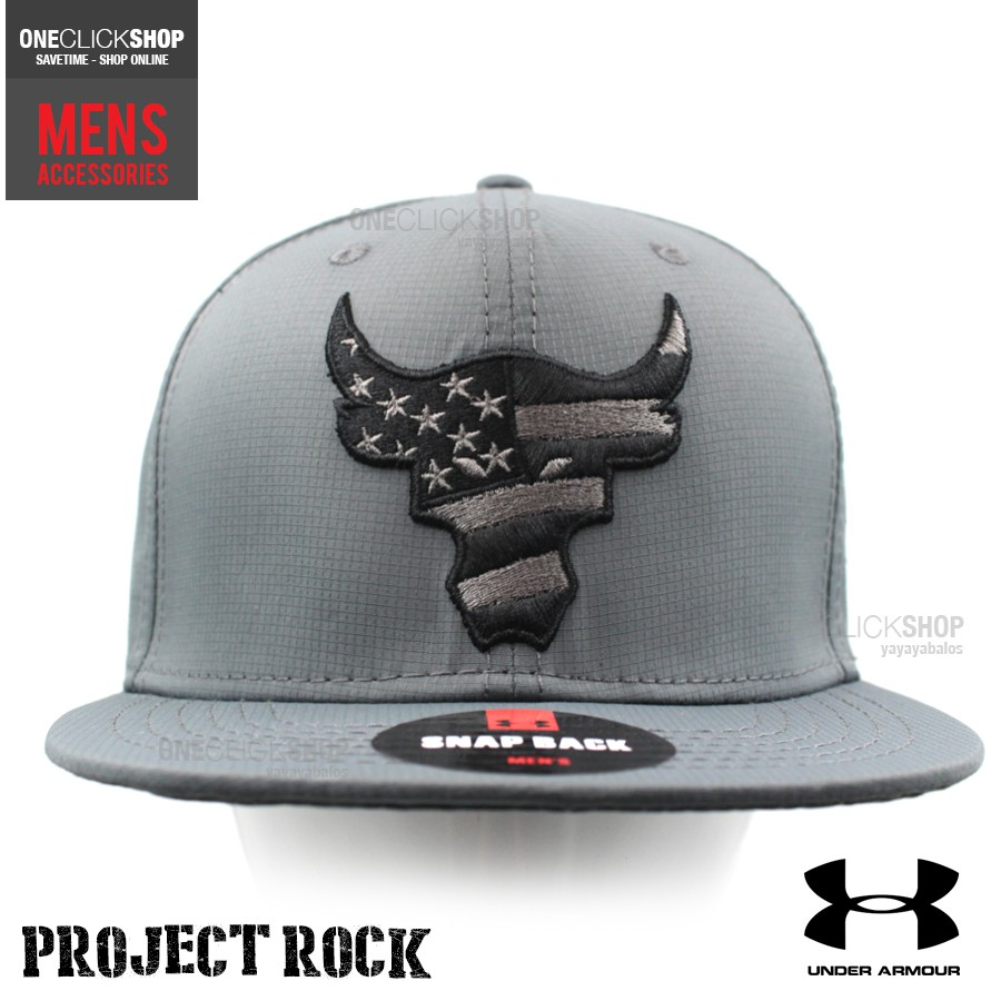 Under Armour Project Rock Snapback Sports Cap - Grey  c6b6d9910c1