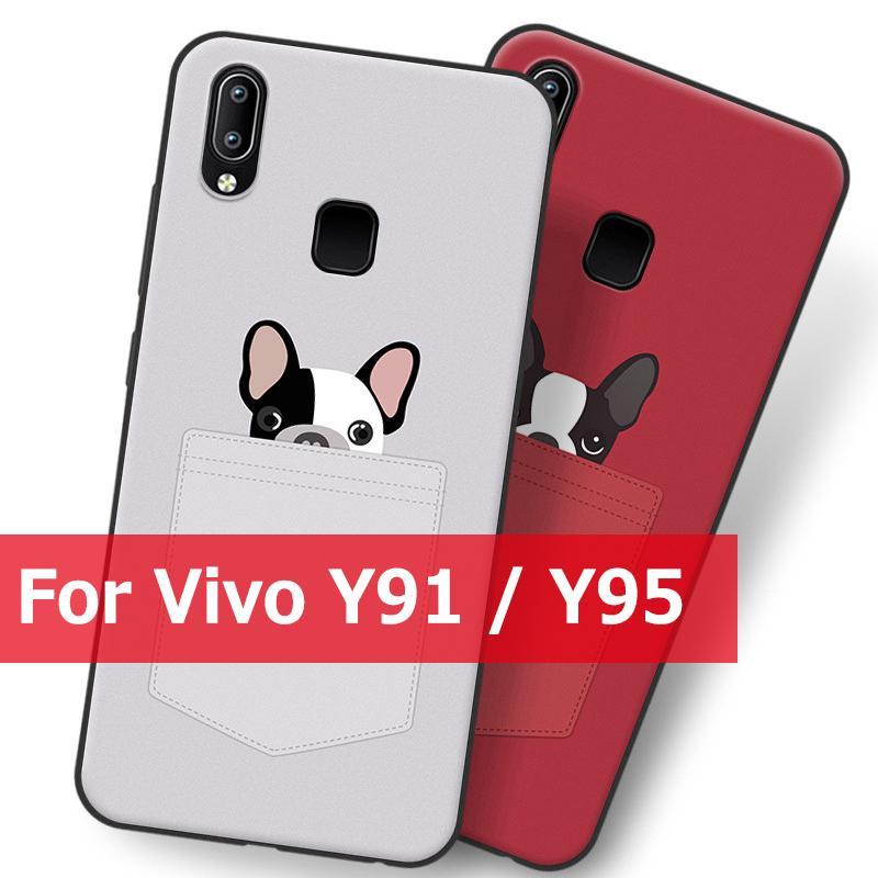 Vivo Y91/Y95 Cute Dog Pocket Puppy Soft TPU Patterned Cover