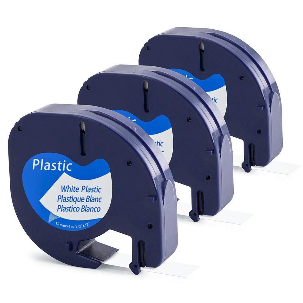 """5 Pack Black on Clear 1//2/"""" LetraTag Compatible for Dymo 16952 Plastic Label Tape"""