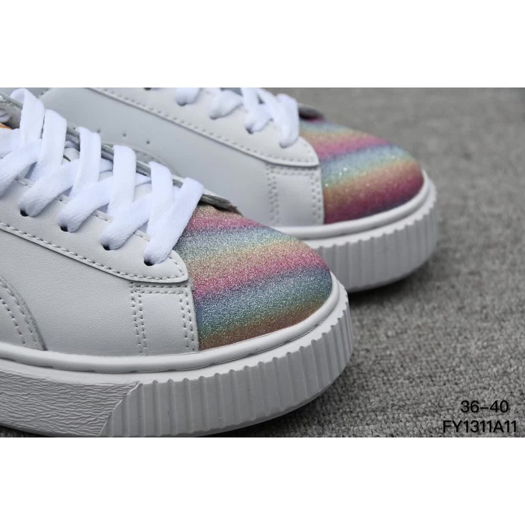 new arrival d7713 87c1f puma suede Rihanna white colorful leather women low top skat