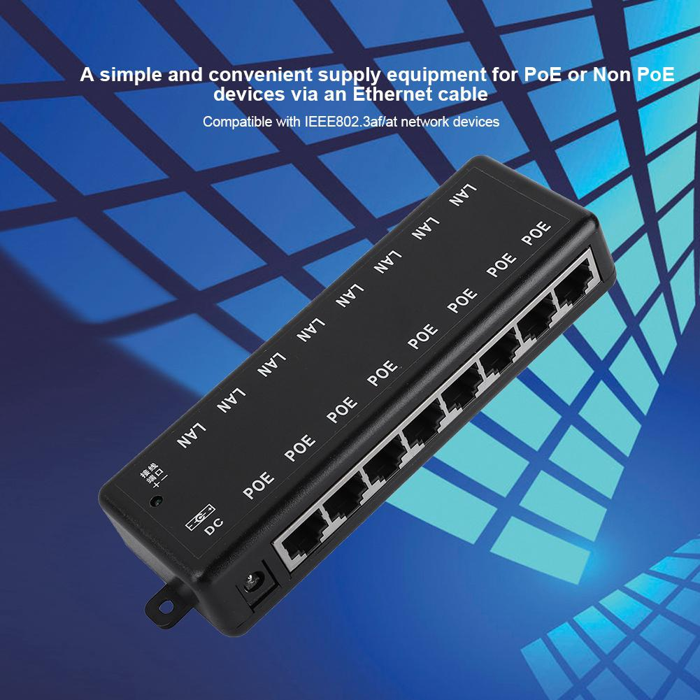 8 Ports Passive PoE Adapter Power Over Ethernet POE Injector IEEE802.3af//at