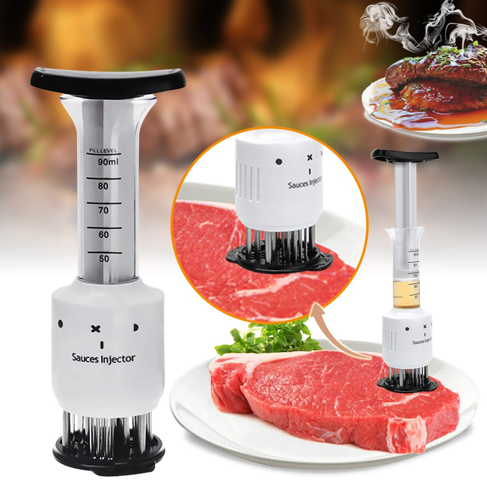 Professional Steak Meat Injector Tenderizer Needle Flavor Marinade Sauces Tool,