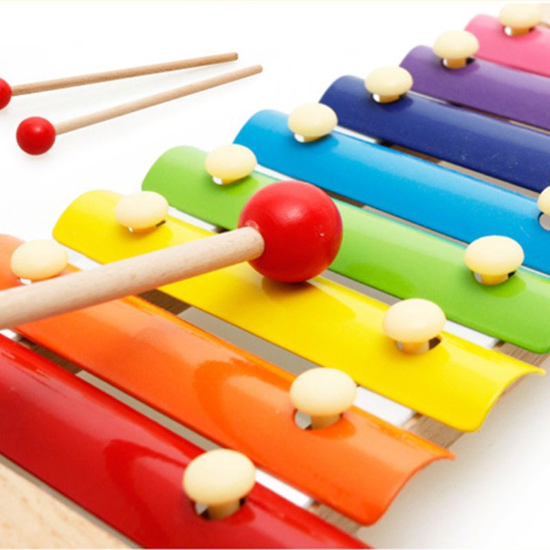 Exquisite Wood Animal Shape Handbell for Baby Toddler Musical Toys Gift