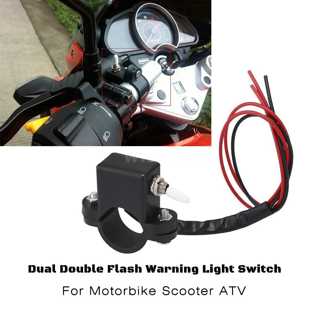 Lin XH 12V Waterproof LED Halo Motorcycle Handlebar Switch Double ON-OFF Push Button