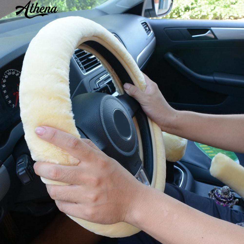 Bluelans/® Soft Warm Plush Universal Van Car Steering Wheel Cover Winter Driving Accessory Black