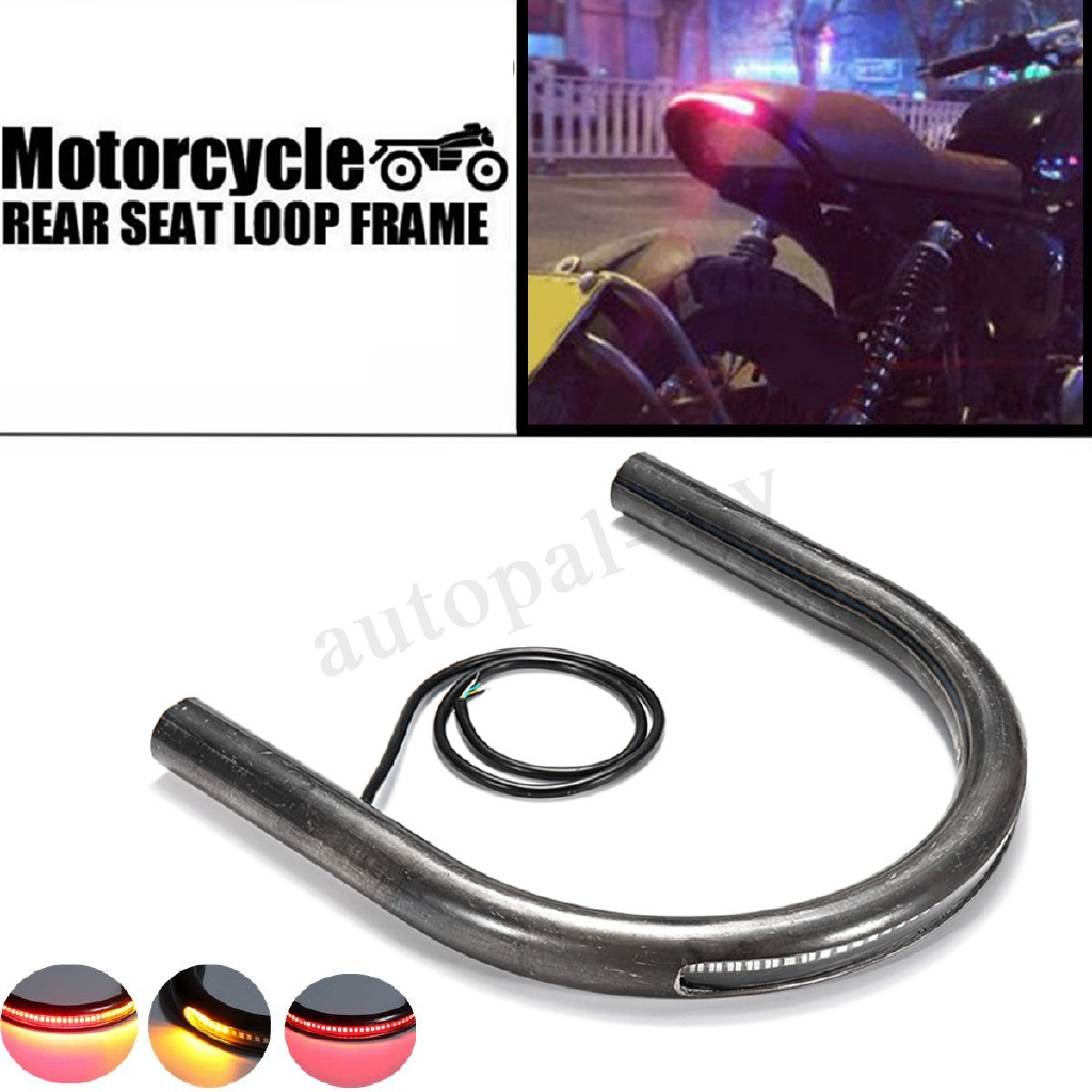 Cafe Racer Frame Hoop Tracker End Seat Loop /& LED Tail Light 7//8/'/' Tube