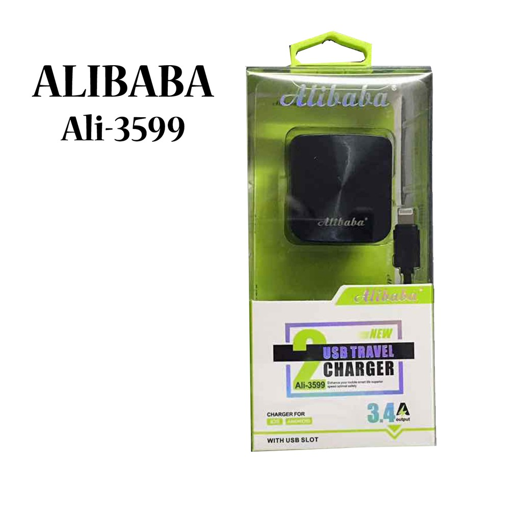 Alibaba Ali-3599 3.4A 2 USB Port Travel Charger (V8) | Shopee Philippines