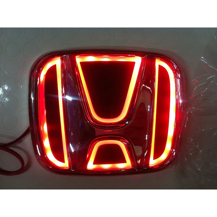 9.0X7.5CM Red Car 5D LED Car Tail Logo Light Badge Emblem For Honda New FIt