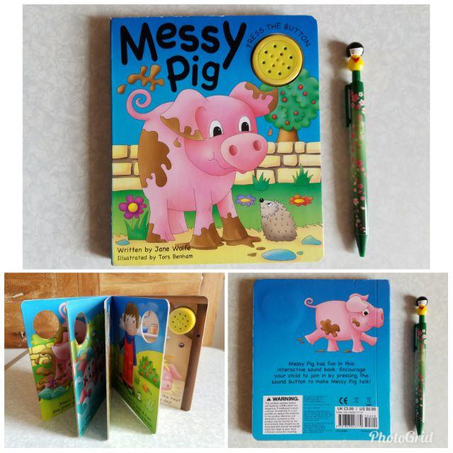Messy Pig w/sound board book