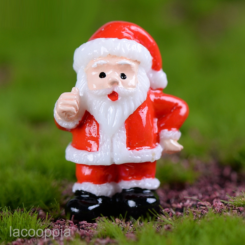 Cute Resin Santa Snowman Hat Figurine Desktop Craft DIY Fairy Garden Home Decor