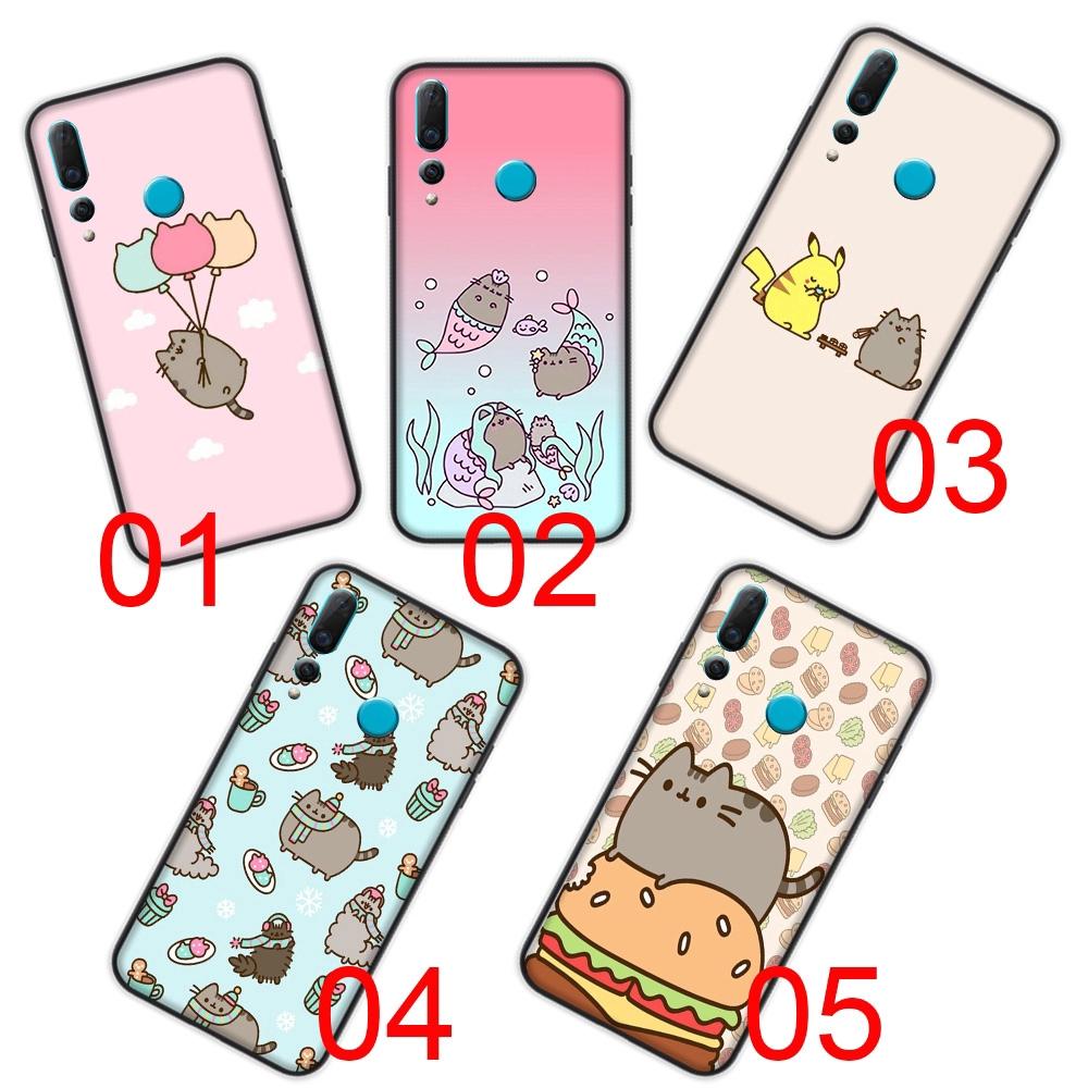 Silicone Soft Case Huawei Y5 Y6 Y7 Y9 Prime P9 Lite mini Cover B-155 Pusheen cat