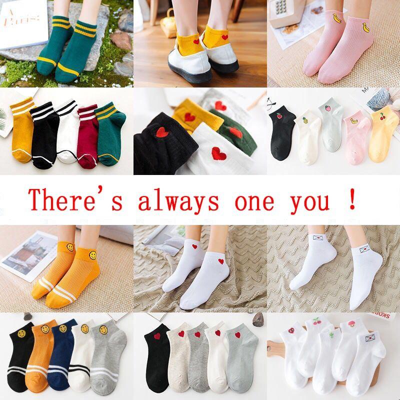 6 Pairs Women Socks Creative Cute Heart Cotton Socks Casual Socks Low Cut Socks