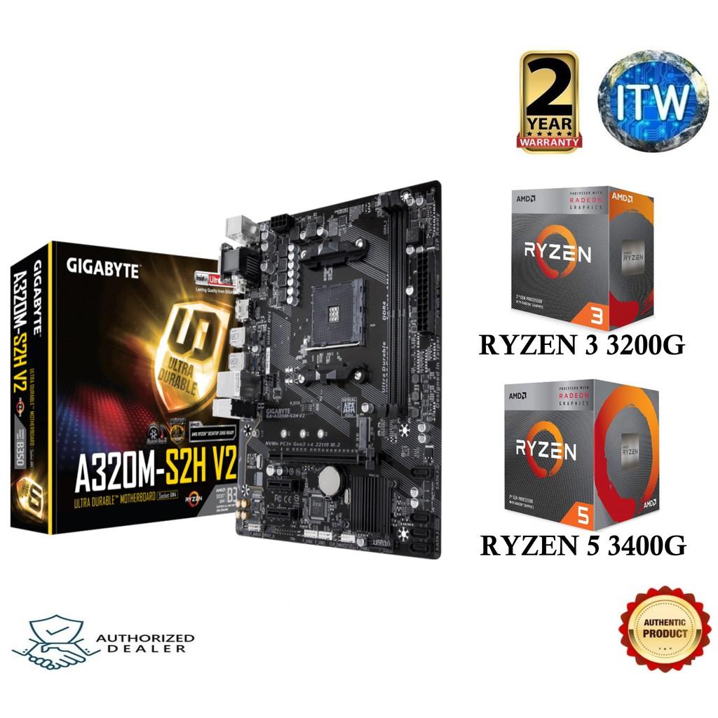 Gigabyte A320M-S2H V2 AMD RYZEN Bundle (Ryzen 3 3200G & Ryzen 5 3400G)