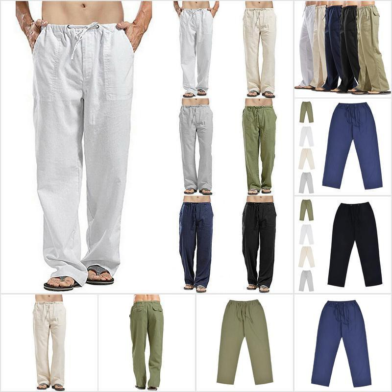 Summer Men Casual Cotton Linen Baggy Harem Pants Beach Yoga Hippy Trousers Solid