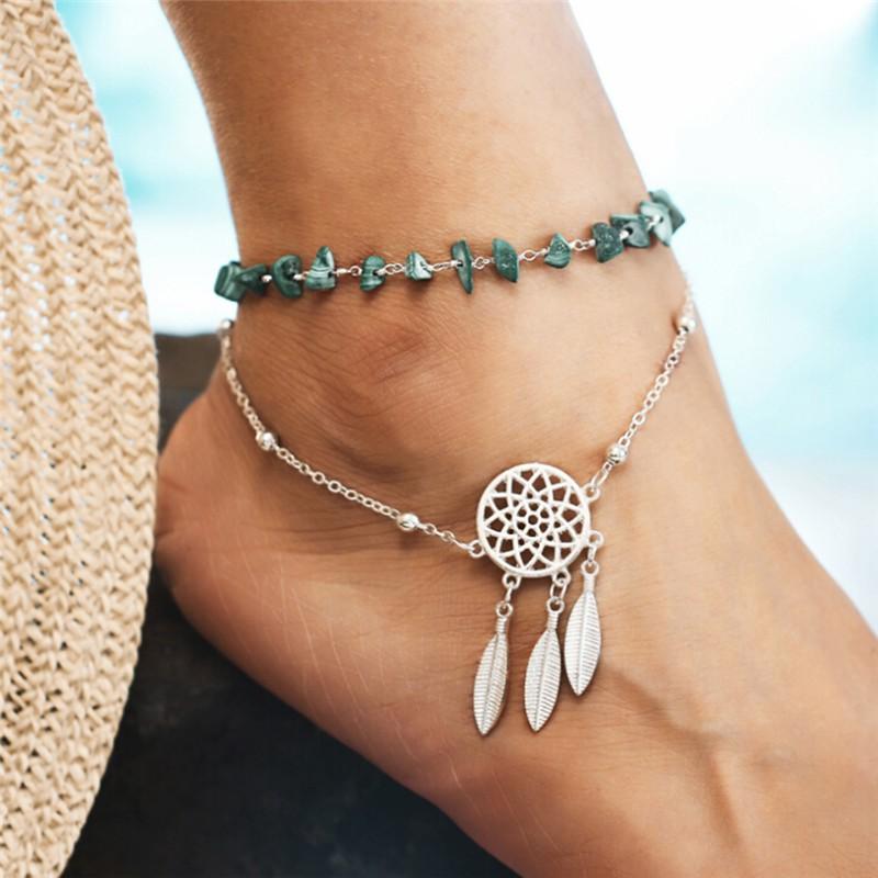 f4b903214fc OZPH 2PCS Set Boho Beads Barefoot Sandal Beach Anklet Ankle Bracelet Foot