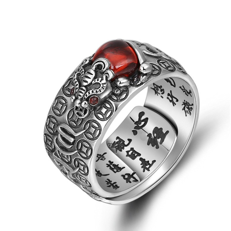 f724f40e12325 Men 925 Sterling Silver Ruby Ring Male Six Words Mantra Ring