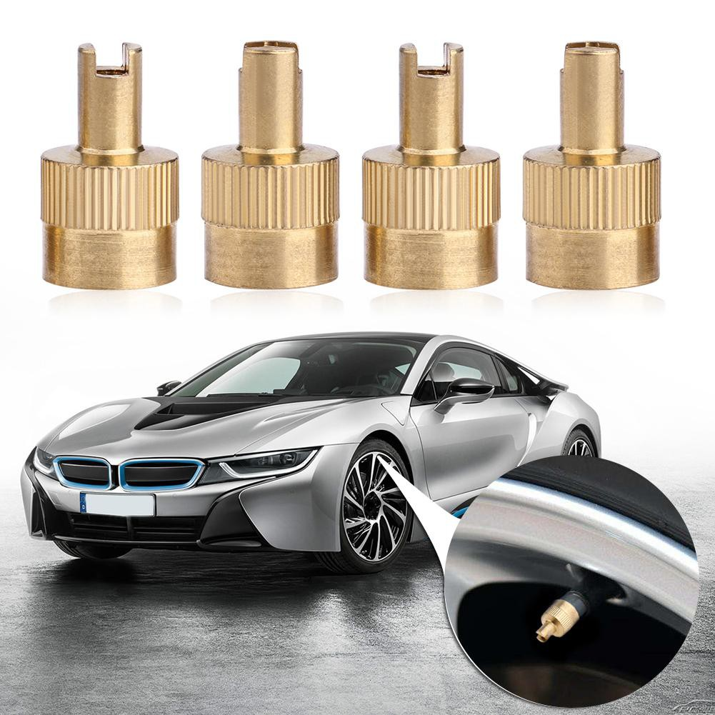 8pcs//Set Chrome Metal Slotted Head Valve Stem Caps With Core Remover Tool ND