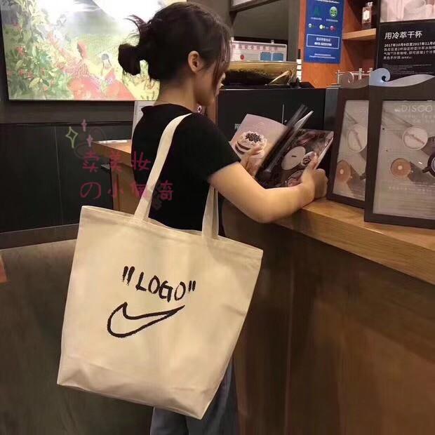 precios grandiosos mejor calidad nueva temporada Nike x Off-White Canvas Shopping Shoulder School Student Tote Bag ...
