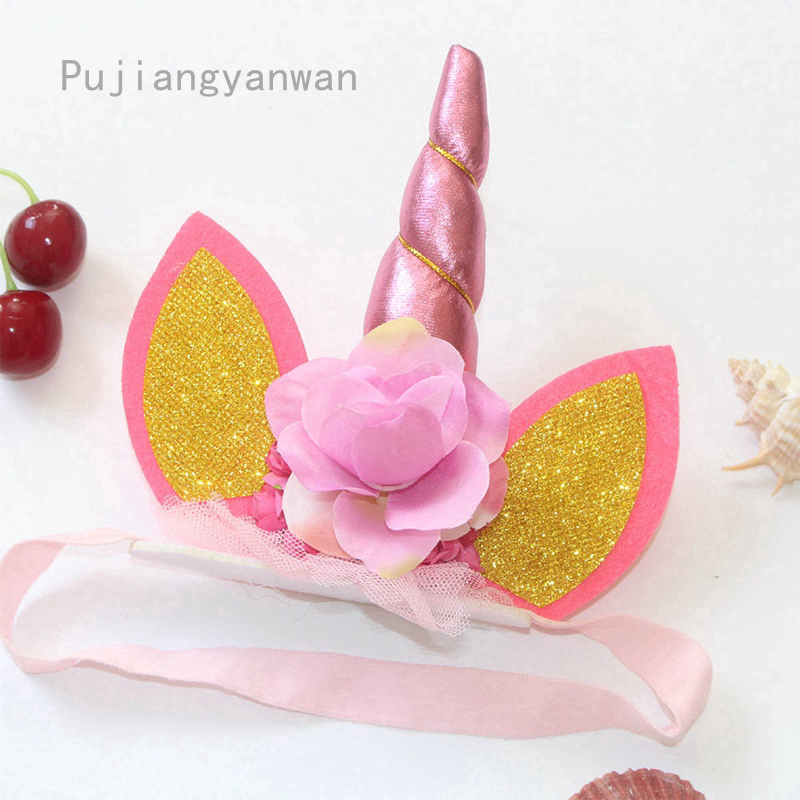 1 hairband girl flowers colorful pink