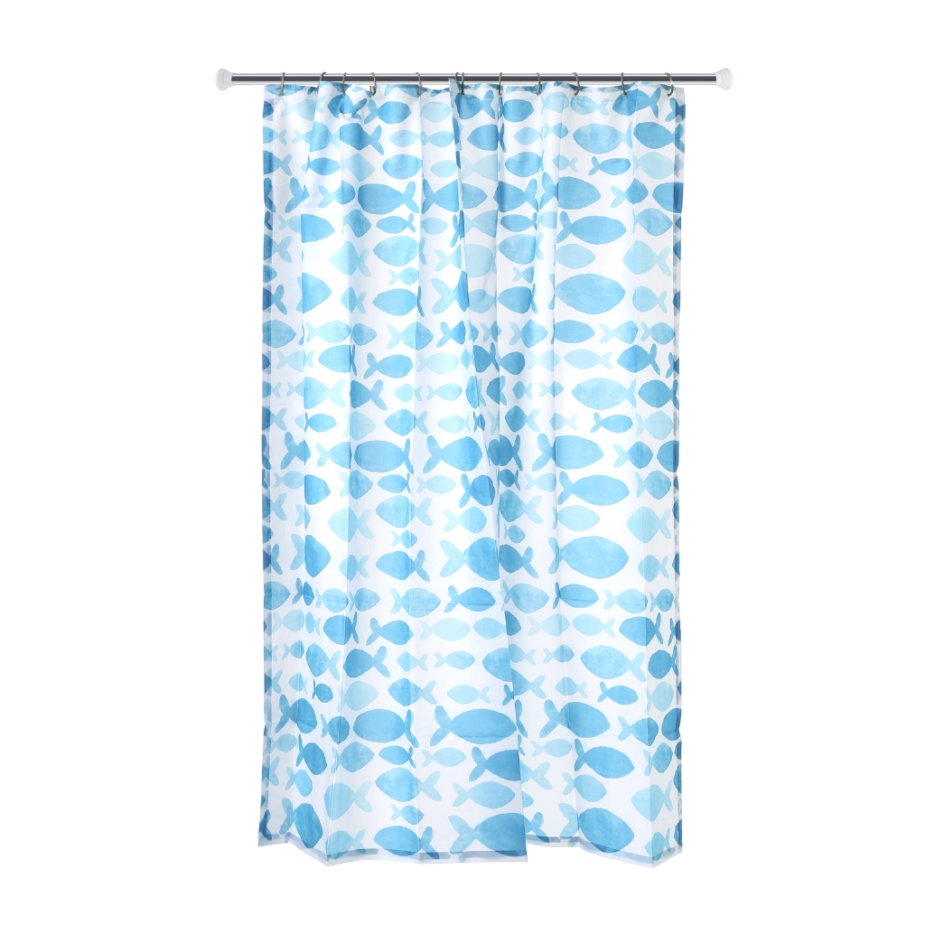 Hosh Fishes Printed Fabric Shower Curtain 70 X 72in