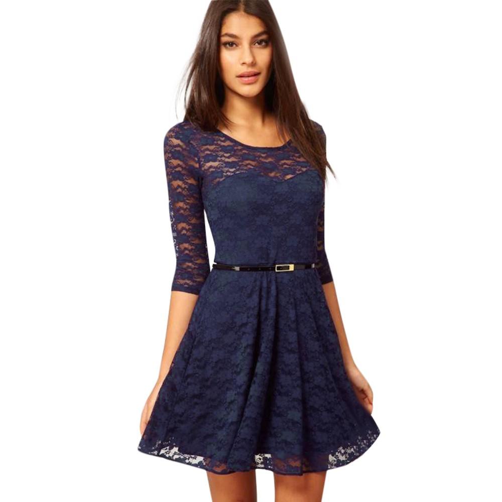 Womens Spoon Neck 34 Sleeve Lace Skater Dress Include Belt Casual Mini Dresse