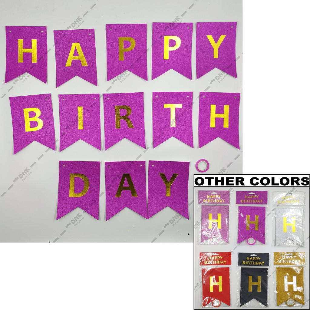 Cutout Flag Hanging Banner Gold Print Glitter Pattern Happy Birthday Pink Purple Silver Red Black Shopee Philippines