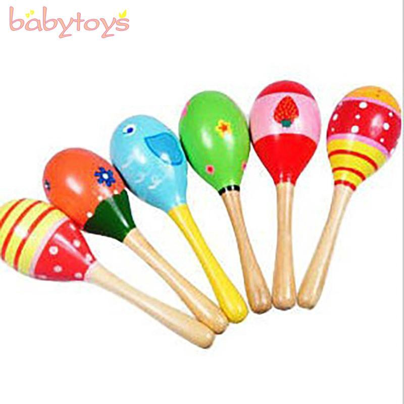 5Pcs Baby Wooden Handle Rattle Shaker Sand Hammer Musical Educational Toy Gift