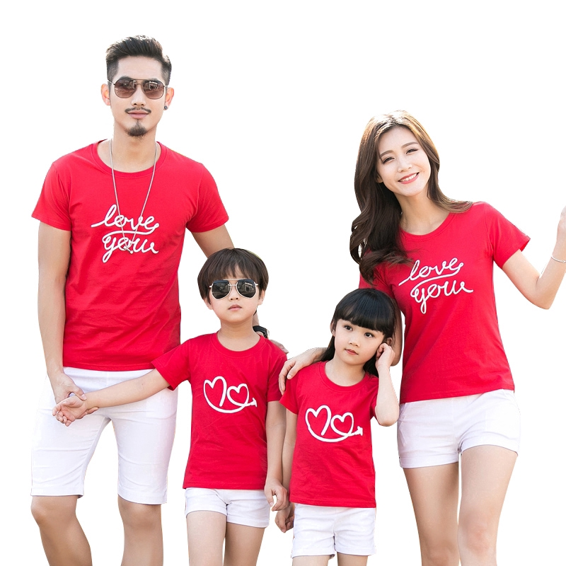 Family Clothing Men Women Boy Girl Cotton Red White T Shirt | Shopee  Philippines
