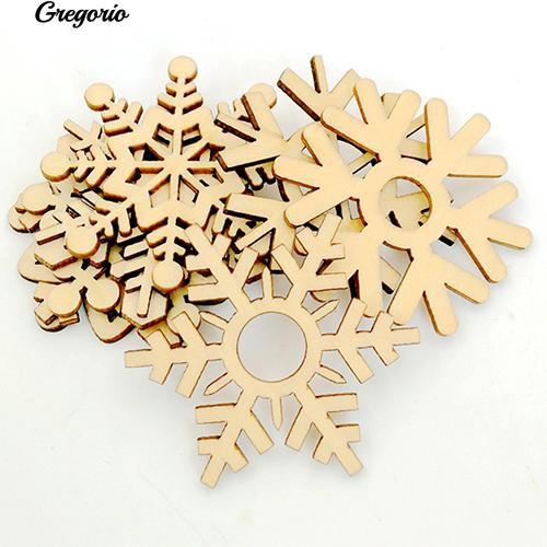COD!Gregorio 10 Pcs Assorted Wooden Snowflake Xmas Wedding Tree Hanging Ornament Decoration