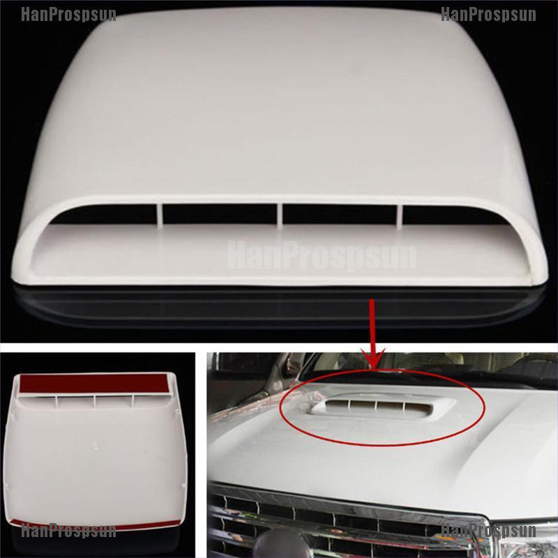 White Bonnet Vent Cover,Universal Car Decorative Air Flow Intake Scoop Bonnet Vent Sticker Cover Hood Air Outlet Frame Cover