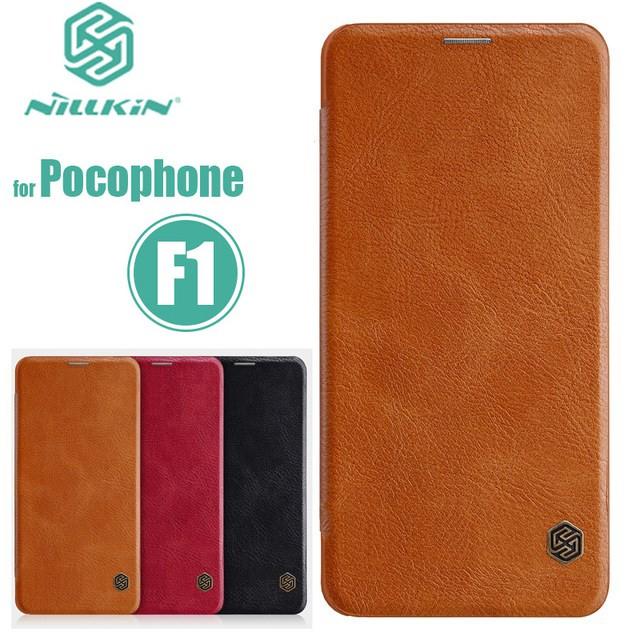 quality design 92591 1579b Xiaomi Pocophone F1 NILLKIN QIN LEATHER Flip Case Cover