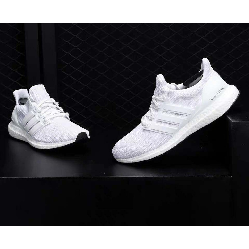 Adidas Ultra Boost all white running shoes for woman and man sneakers with box and paperbag