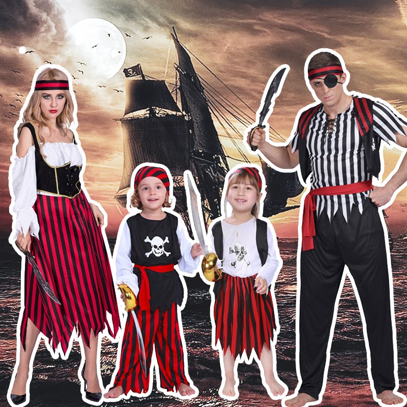 Baby Boy Girl Carnival Pirate Captain Costume Dress Outfit Cloth Cosplay Party