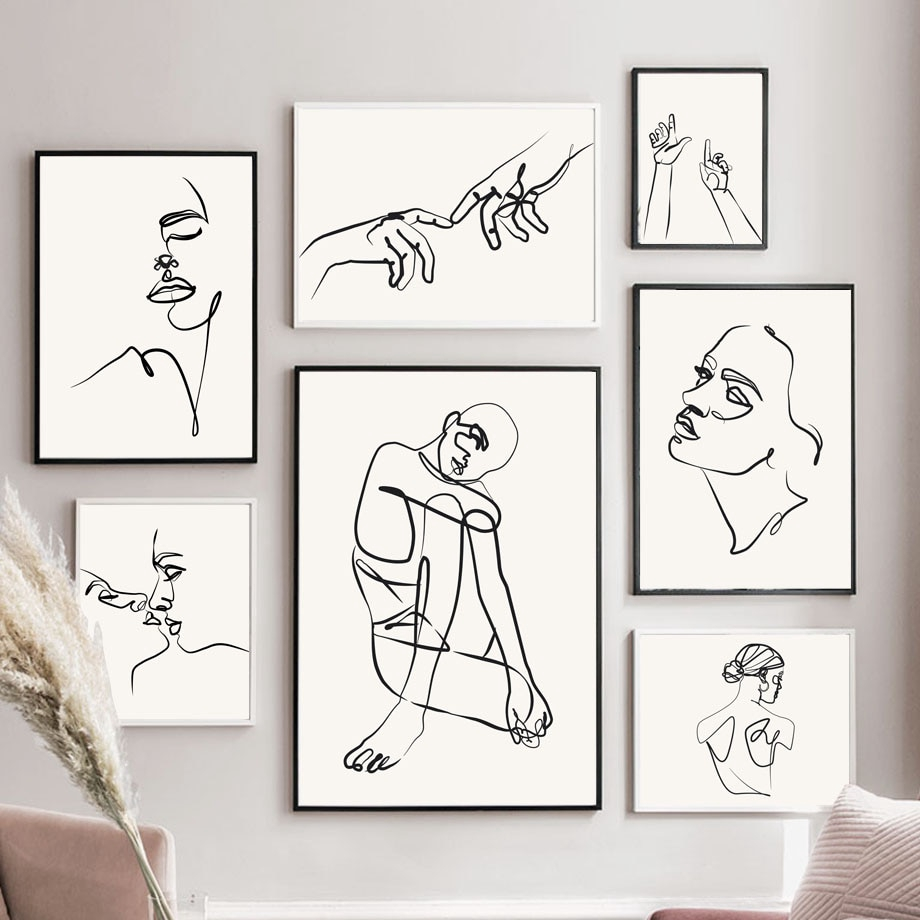 Body Line Drawing Abstract Painting Wall Art Canvas Painting Black White Nordic Posters Prints Wall Pictures Unframed Shopee Philippines