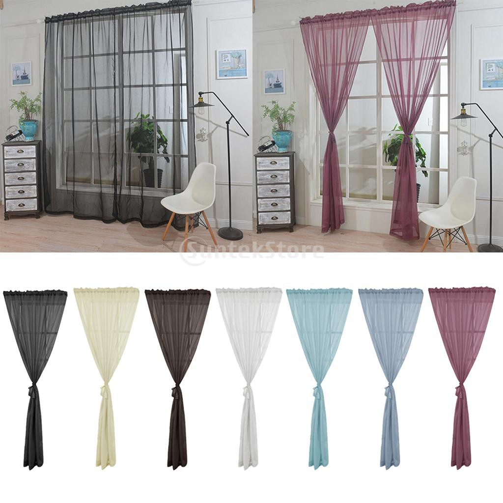 Homyl2 1 Panel Rod Pocket Window Voile Sheer Curtain Valance For Sliding Glass Door Shopee Philippines