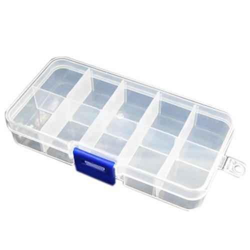 2pcs Plastic 10 Compartments Electronic Components Storage Box Case