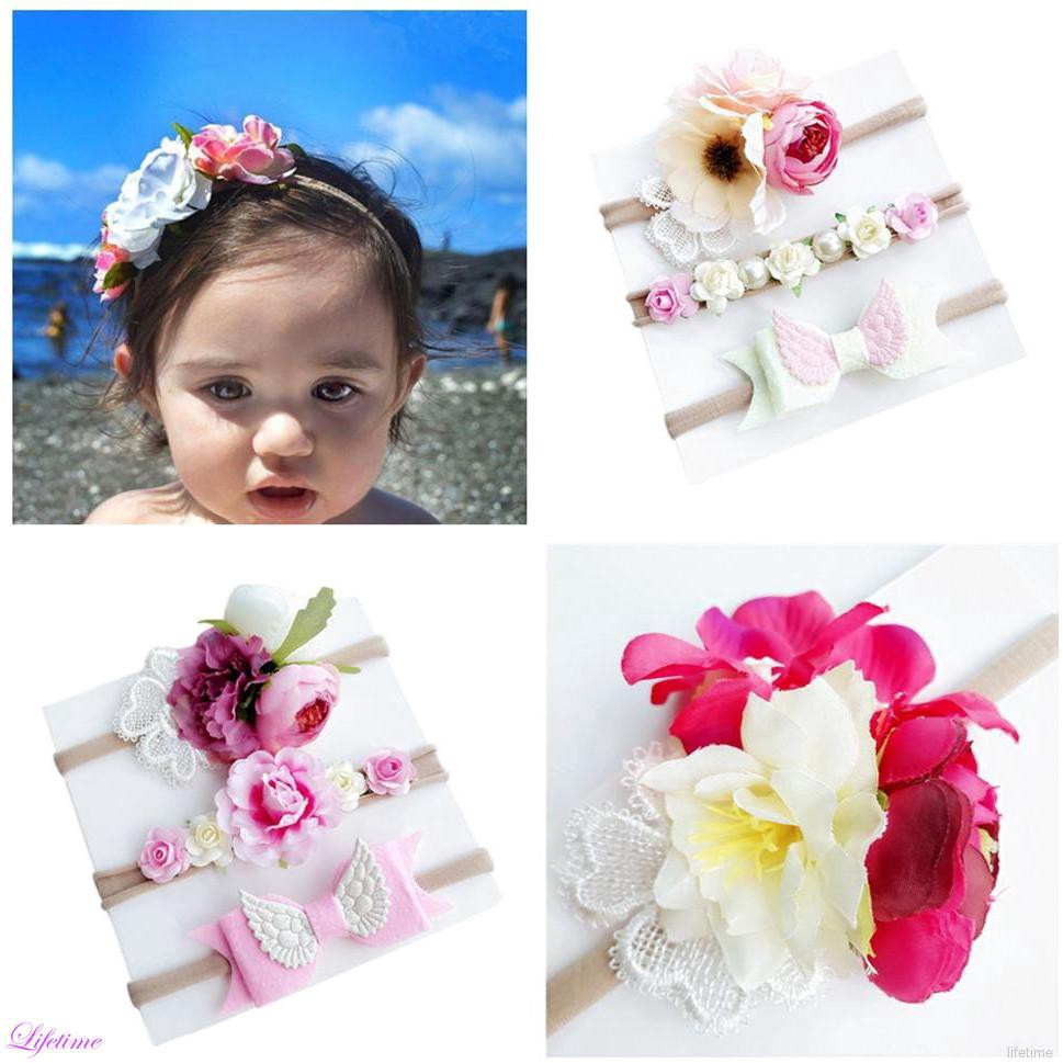 3Pcs//set Children Hair Flowers Rose Girls Fabric Chiffon Hair Accessories UK