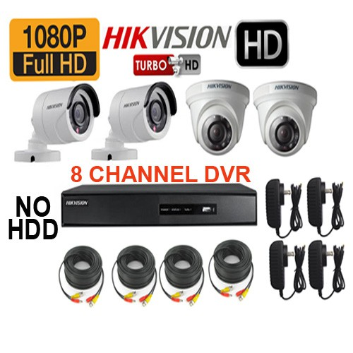 HIKVISION 2MP 4 CAMERA 8 CHANNEL DVR NO HDD