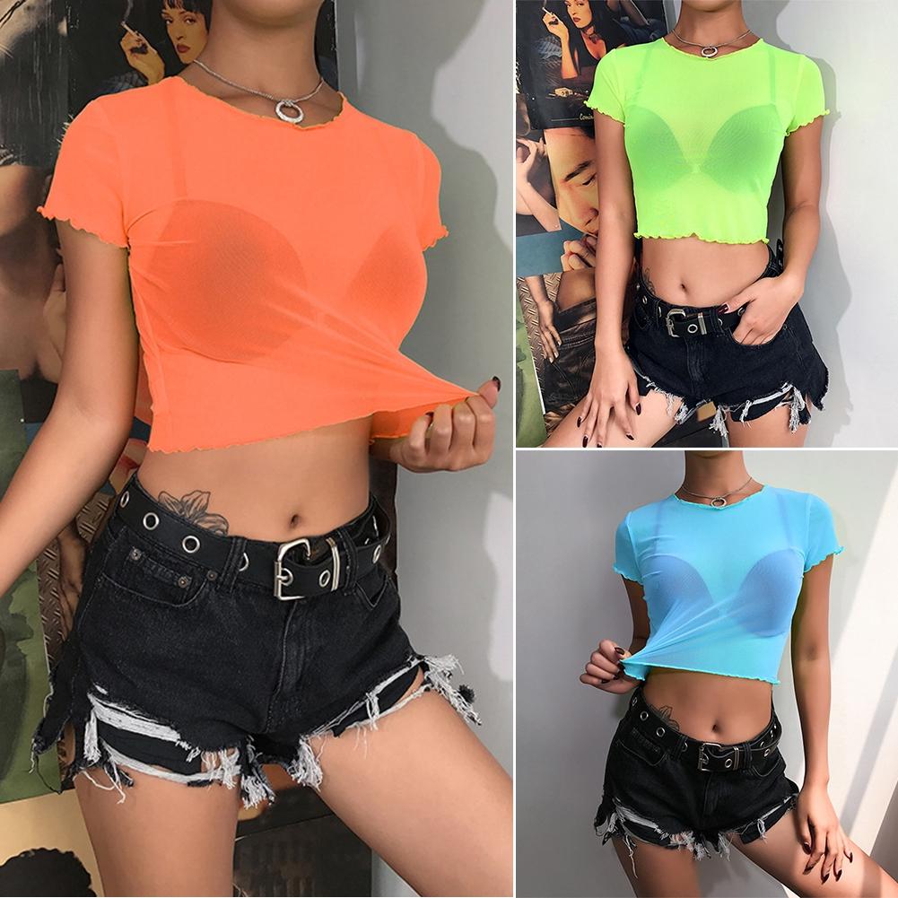 UK STOCK Summer Women Short Sleeve Tops See Through Mesh Crop Top T Shirt Blouse