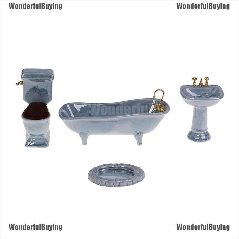Dollhouse Miniature Bathroom Set 3PCS White Bathtub Basin Closestool Ceramic