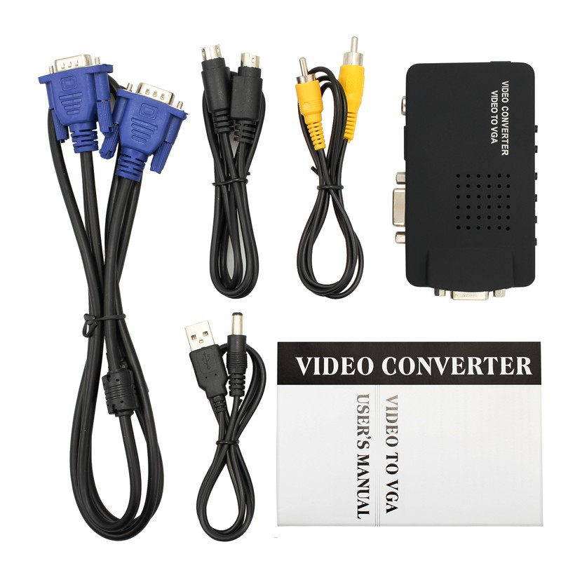 TV BNC Composite S-video VGA In to PC VGA LCD Out Converter Adapter Box Black