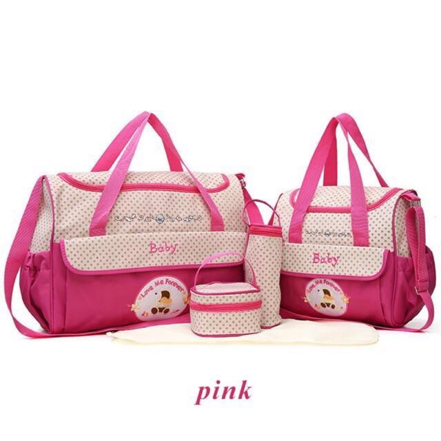5PCS/Set Fashion baby Diaper Bag Mummy Stroller Bag large Capacity Handbag Nappy Changing Pad  Baby